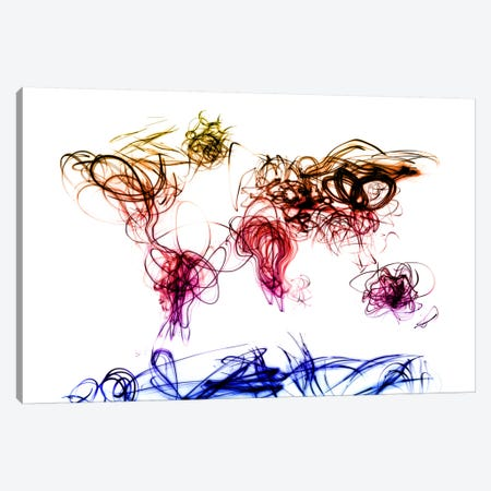 World Map Light Writing Canvas Print #8986} by Michael Tompsett Canvas Wall Art