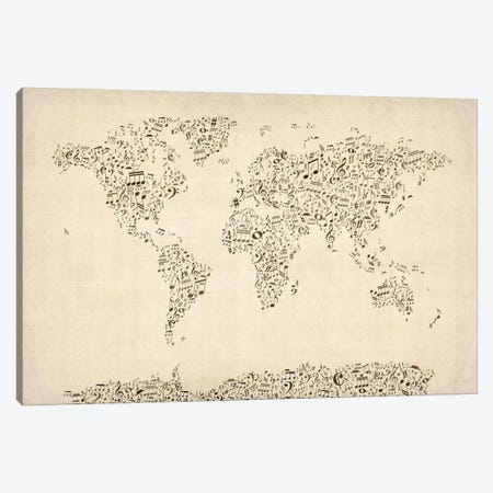 Music Notes Map of The World Canvas Print #8987} by Michael Tompsett Canvas Art