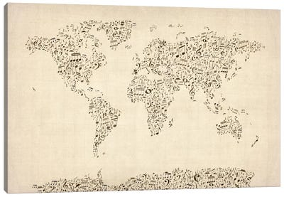 Music Notes Map of The World Canvas Art Print