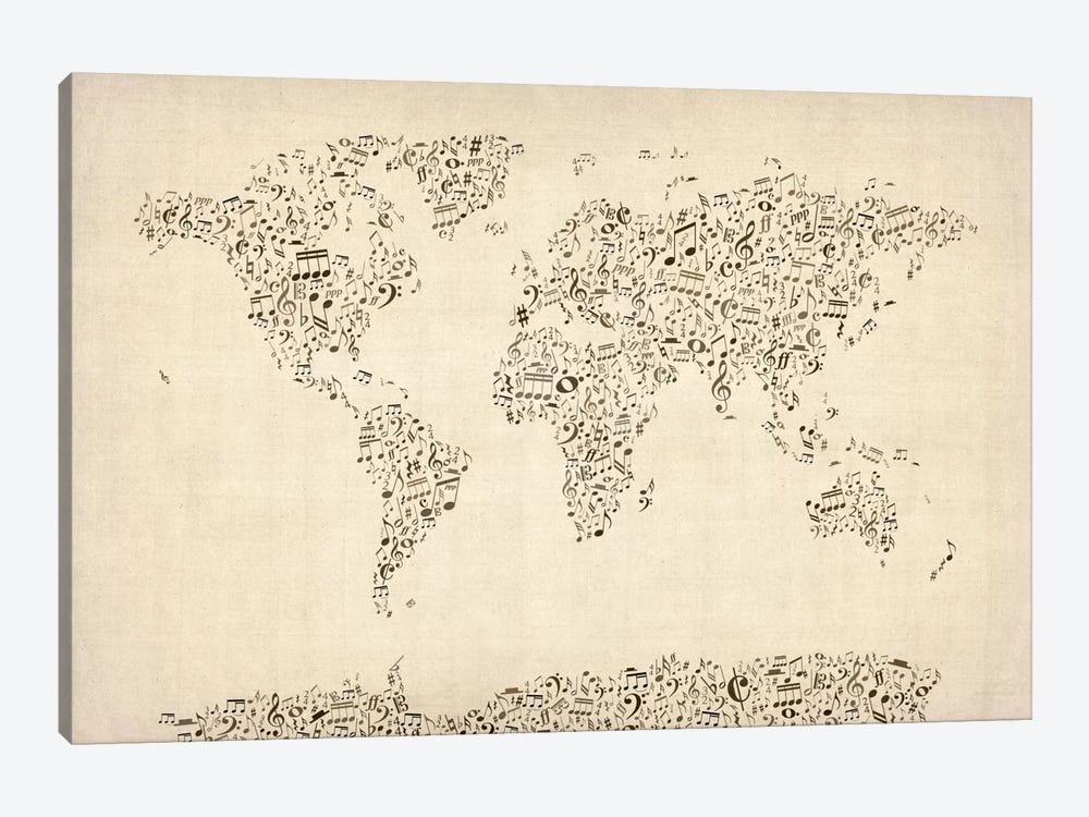 Music Notes Map of The World by Michael Tompsett 1-piece Canvas Artwork