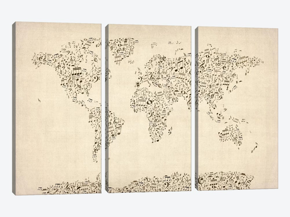 Music Notes Map of The World by Michael Tompsett 3-piece Canvas Artwork