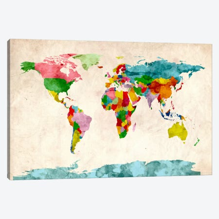 World Map Watercolors III Canvas Print #8988} by Michael Tompsett Art Print