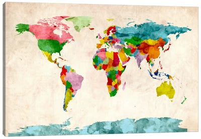 World Map Watercolors III Canvas Print #8988