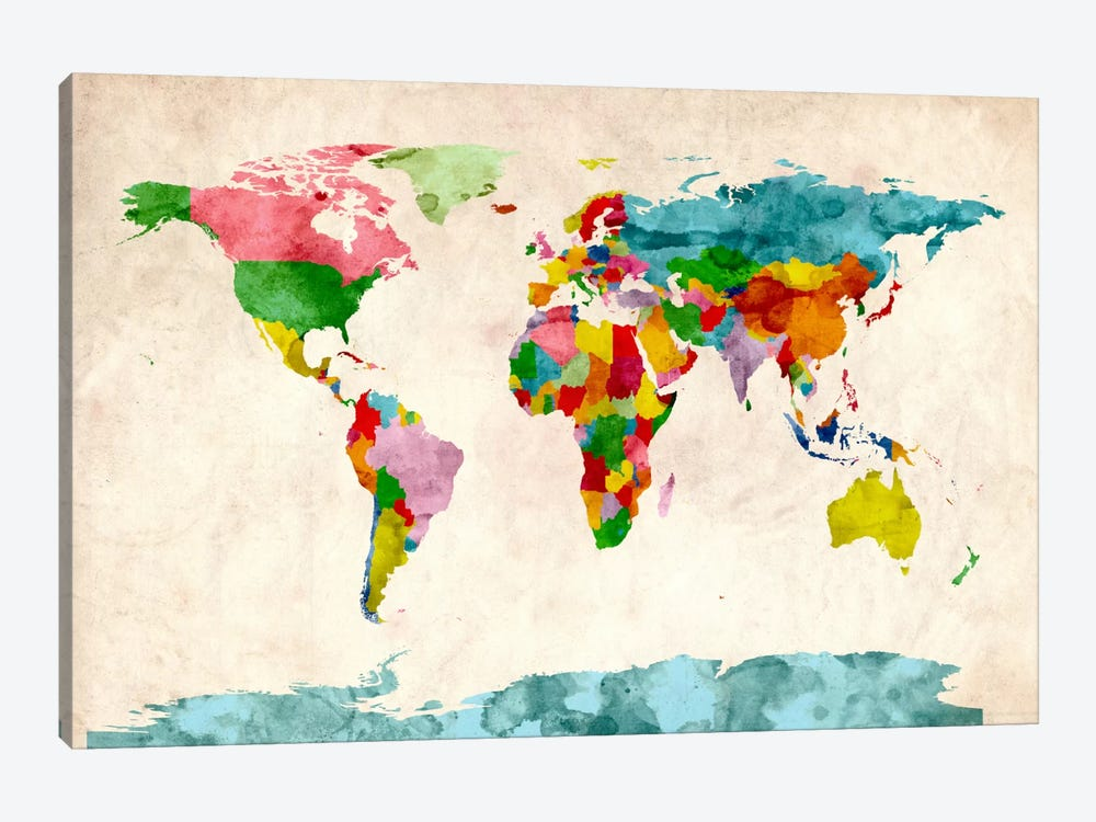 World Map Watercolors III by Michael Tompsett 1-piece Canvas Art Print