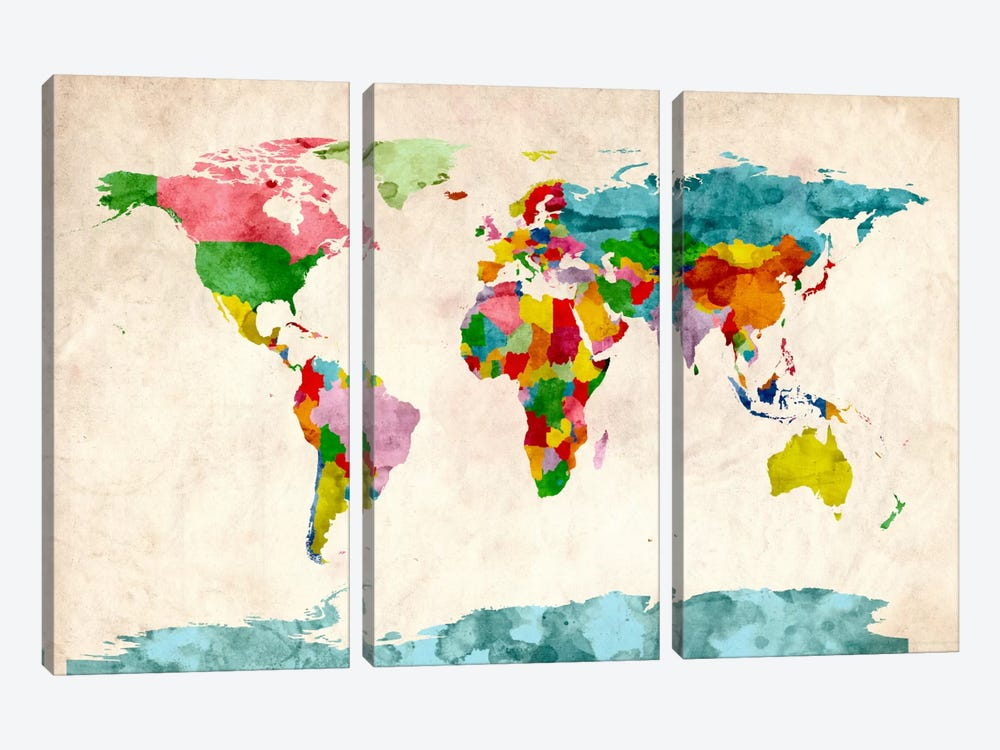 World Map Watercolors III by Michael Tompsett 3-piece Art Print