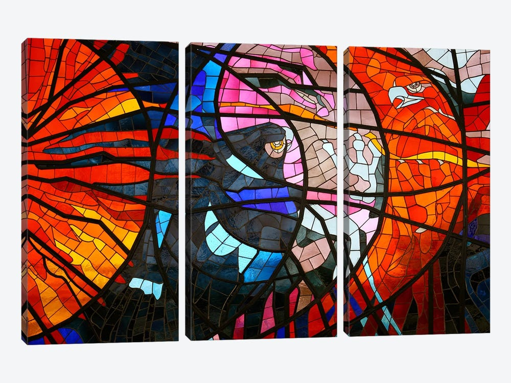 Stained Glass Window 3-piece Canvas Art Print