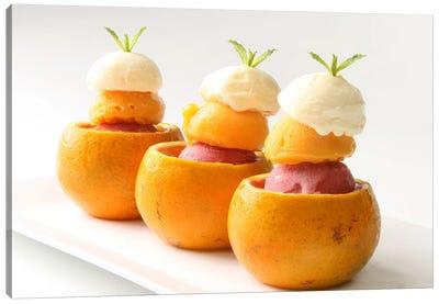 Ice Cream Balls Inside Oranges Canvas Art Print