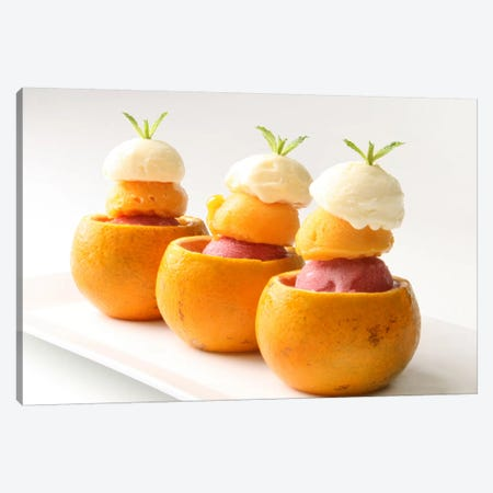 Ice Cream Balls Inside Oranges Canvas Print #9025} Canvas Artwork