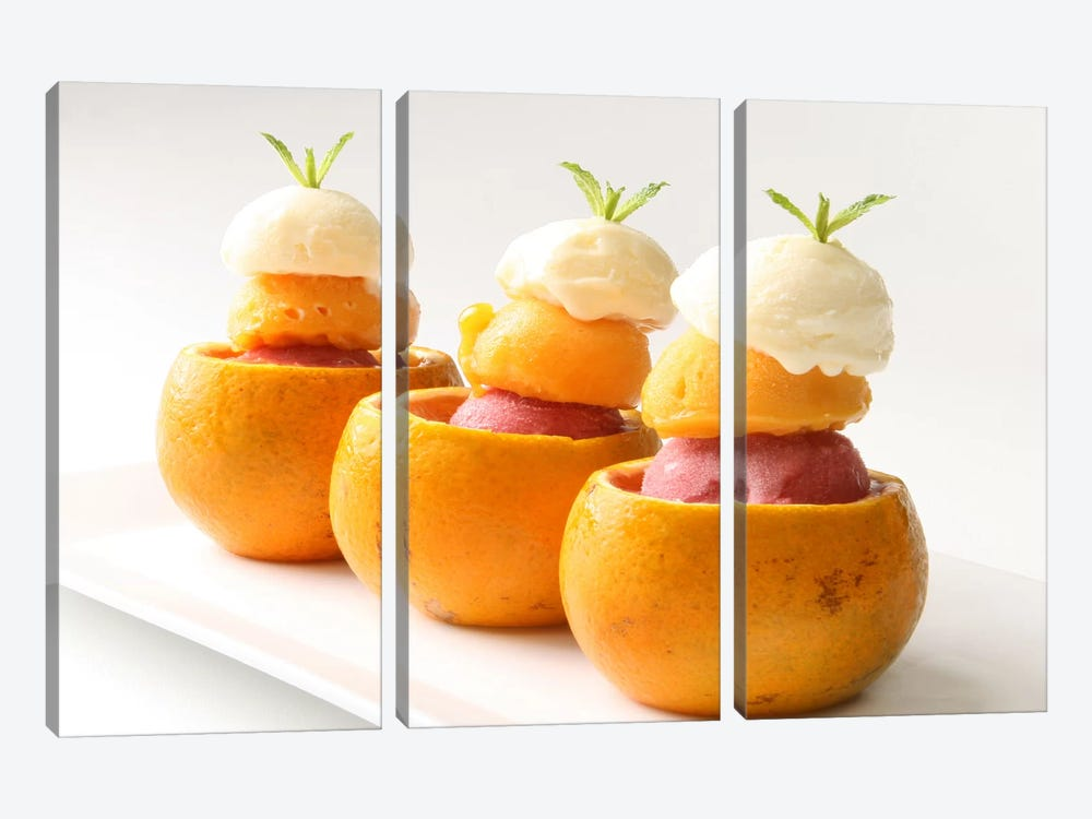 Ice Cream Balls Inside Oranges 3-piece Canvas Wall Art