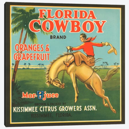 Florida Cowboy Brand Vintage Citrus Crate Label Canvas Print #9050} by Unknown Artist Canvas Artwork