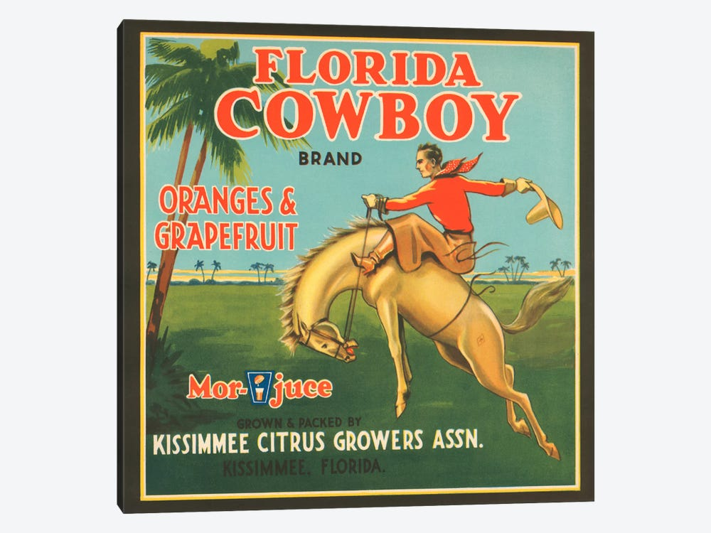 Florida Cowboy Brand Vintage Citrus Crate Label by Unknown Artist 1-piece Canvas Artwork