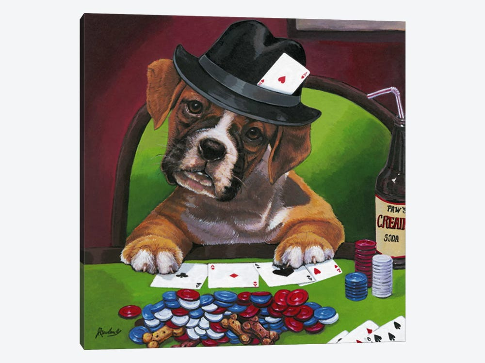 Poker Dogs Jenny Newland by Jenny Newland 1-piece Canvas Wall Art