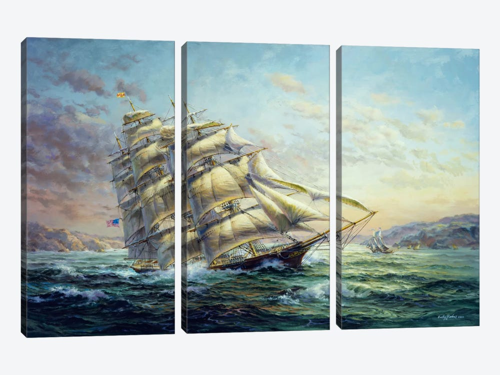 Clipper Ship Surprise by Nicky Boehme 3-piece Canvas Art Print