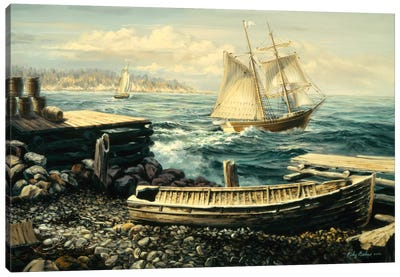 Coastal New England (Boat) Canvas Print #9065
