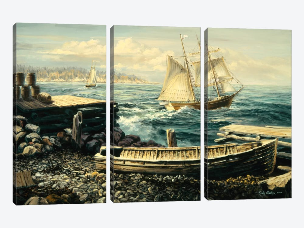Coastal New England (Boat) by Nicky Boehme 3-piece Canvas Artwork