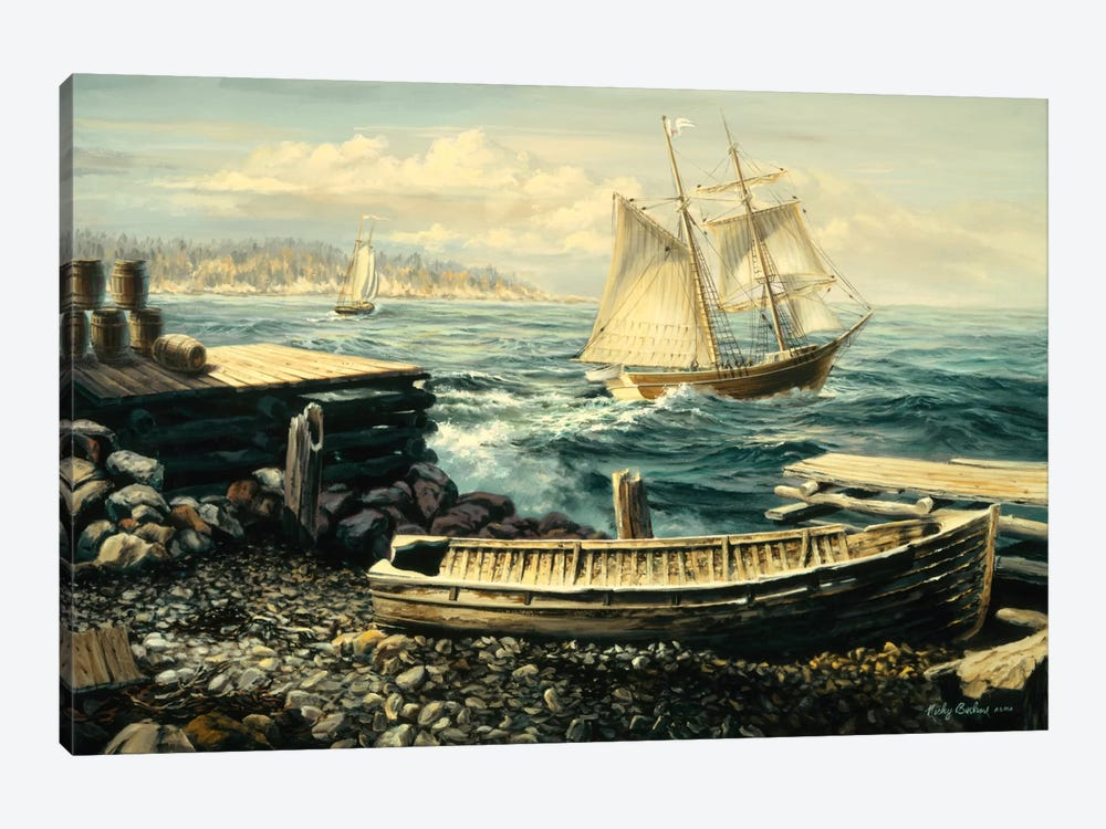 Coastal New England (Boat) by Nicky Boehme 1-piece Canvas Artwork