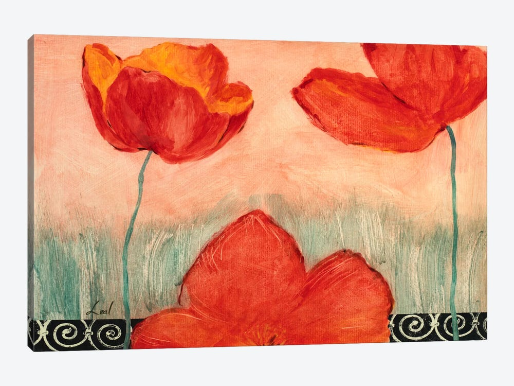 Red Flowers by Pablo Esteban 1-piece Canvas Artwork