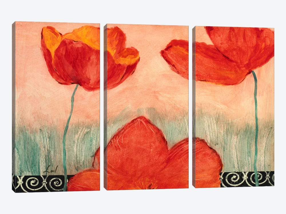 Red Flowers 3-piece Canvas Art