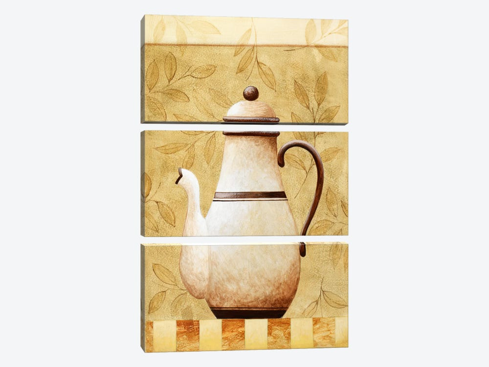 White Teapod by Pablo Esteban 3-piece Canvas Wall Art