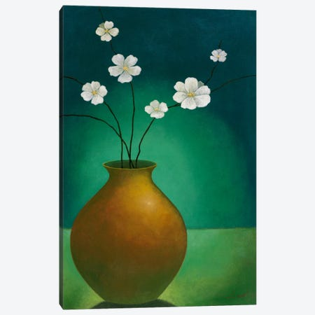 Vase with White Flowers Canvas Print #9086} by Pablo Esteban Canvas Art