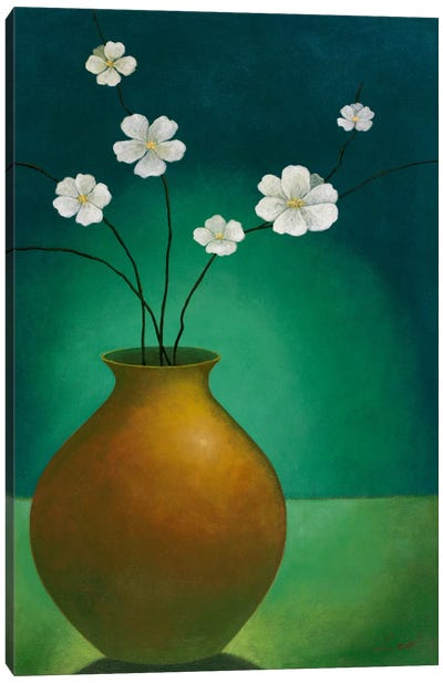Vase with White Flowers Canvas Art Print