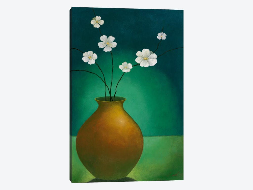 Vase with White Flowers by Pablo Esteban 1-piece Canvas Art Print