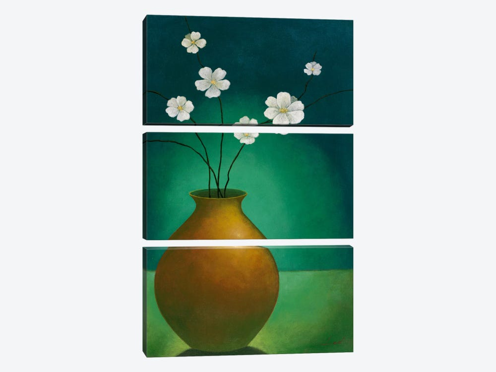 Vase with White Flowers by Pablo Esteban 3-piece Canvas Art Print