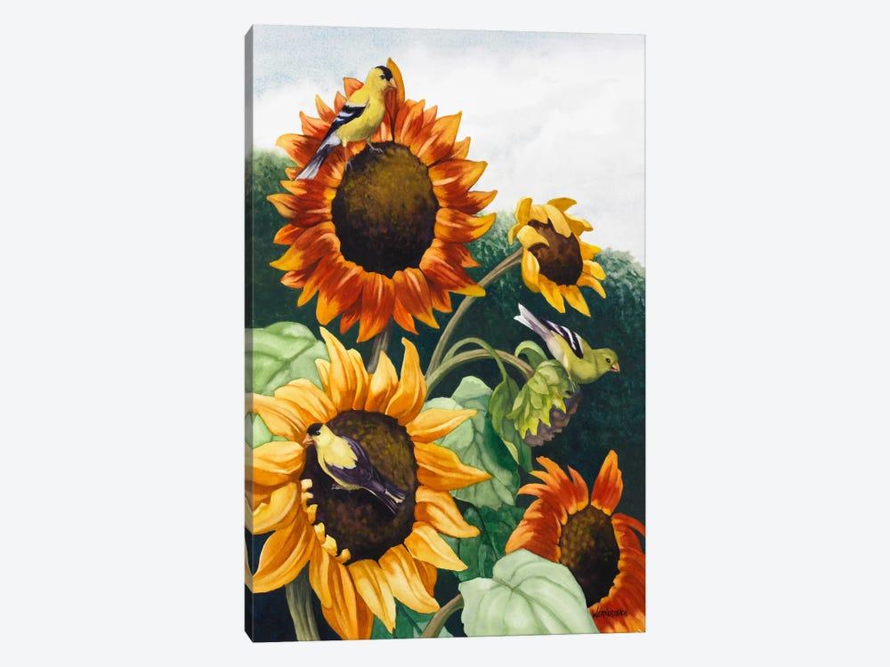 Goldfinches Banquet by Nancy Wernersbach 1-piece Canvas Artwork