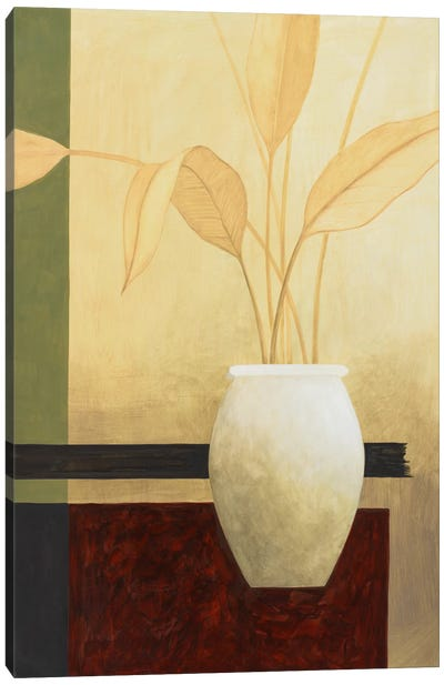 White Vase on The Table Canvas Art Print