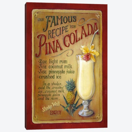 Famous Recipe for Pina Colada Canvas Print #9121} by Lisa Audit Canvas Artwork