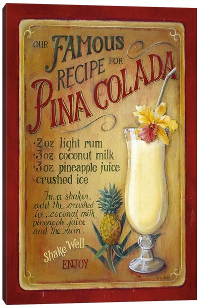 Famous Recipe for Pina Colada Canvas Art Print