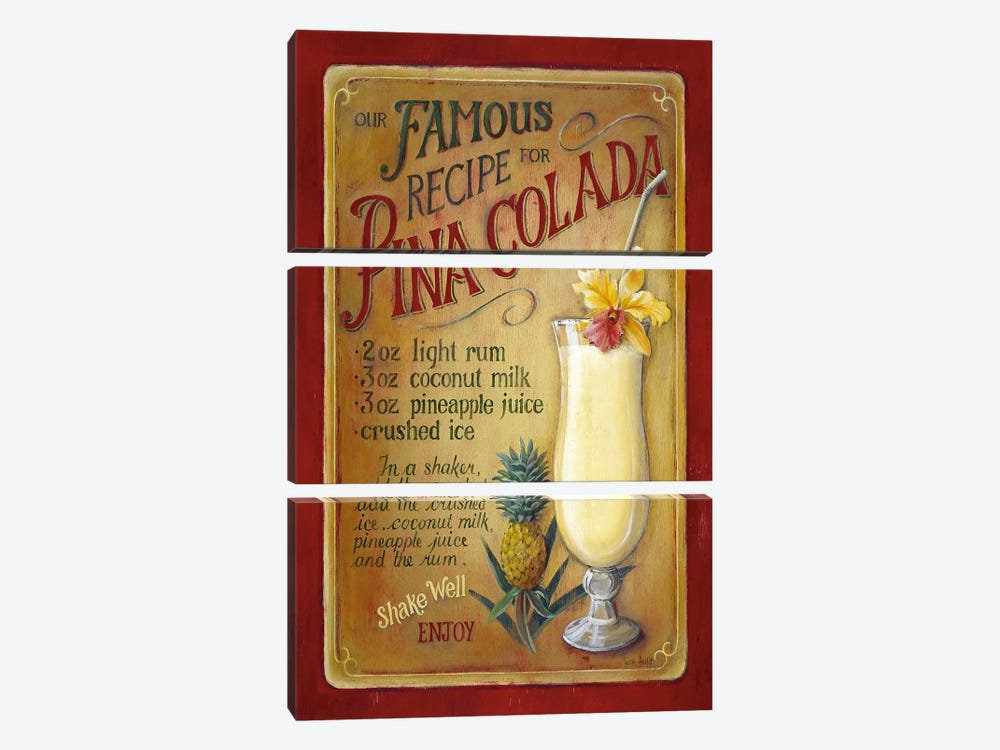 Famous Recipe for Pina Colada by Lisa Audit 3-piece Canvas Print