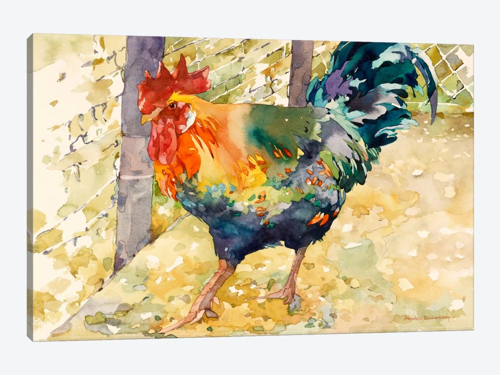Colorful Rooster by Annelein Beukenkamp 1-piece Canvas Print