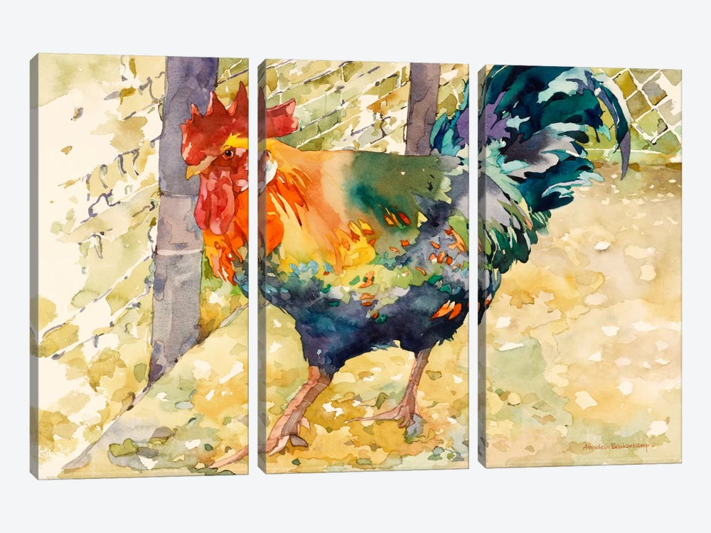 Colorful Rooster by Annelein Beukenkamp 3-piece Art Print