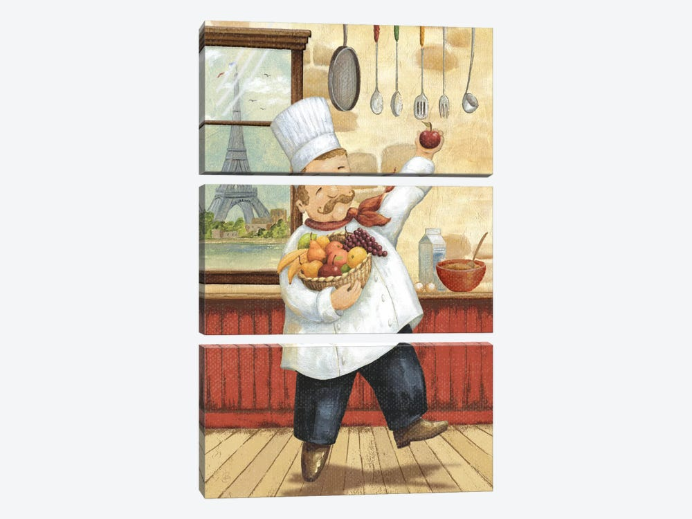 Happy Chef I by Daphne Brissonnet 3-piece Canvas Art Print