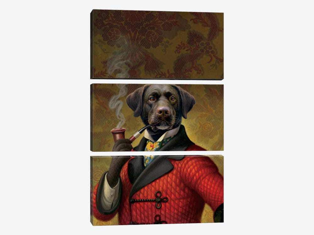 The Red Beret (Dog) by Dan Craig 3-piece Canvas Art Print