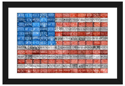 Recycled License Plate Flag Series: USA III Framed Art Print