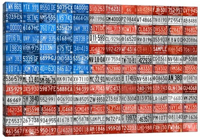 Recycled License Plate Flag Series: USA III Canvas Print #9208