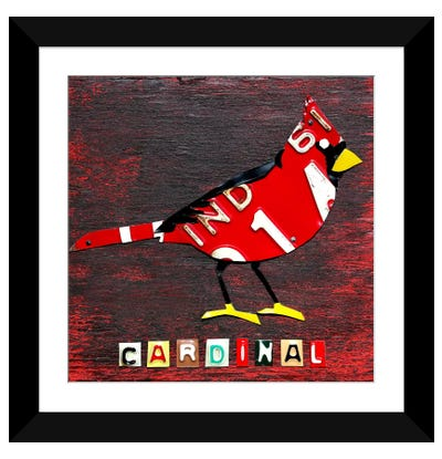 Recycled License Plate State Bird Series: Indiana: Northern Cardinal Framed Art Print