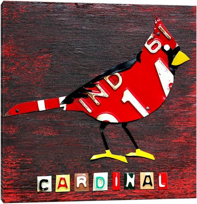 Recycled License Plate State Bird Series: Indiana: Northern Cardinal Canvas Print #9209