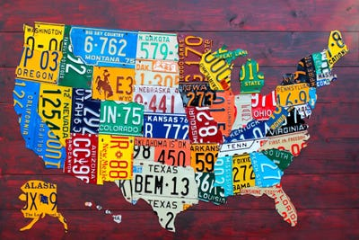 USA Recycled License Plate Map VII Canvas Wa Design Turnpike - Framed us map