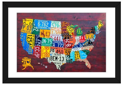 USA Recycled License Plate Map VII Framed Art Print