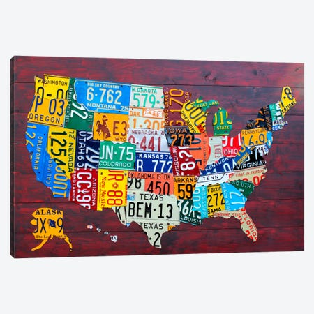 USA Recycled License Plate Map VII Canvas Art Print