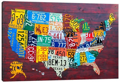 USA Recycled License Plate Map VII Canvas Print #9210