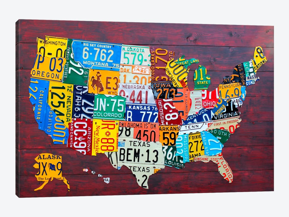 Us Map Made Out Of License Plates.Usa Recycled License Plate Map Vii Canvas Wa Design Turnpike