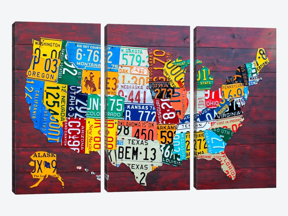 USA Recycled License Plate Map VII by Design Turnpike 3-piece Canvas Art Print