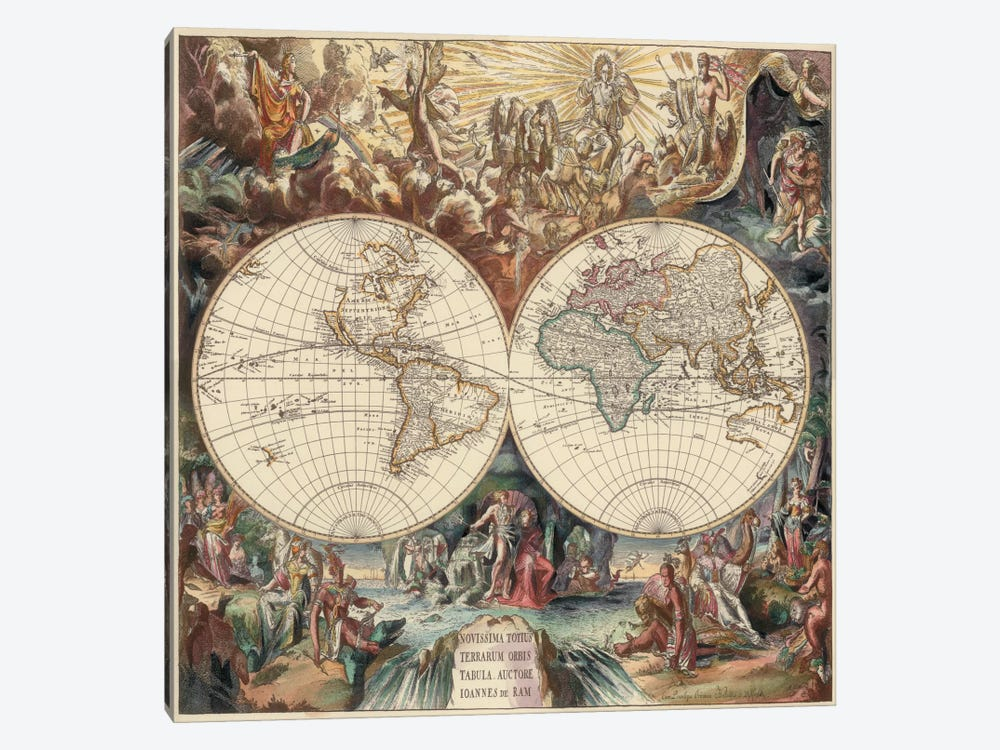 Antique World Map I by Interlitho Designs 1-piece Canvas Artwork