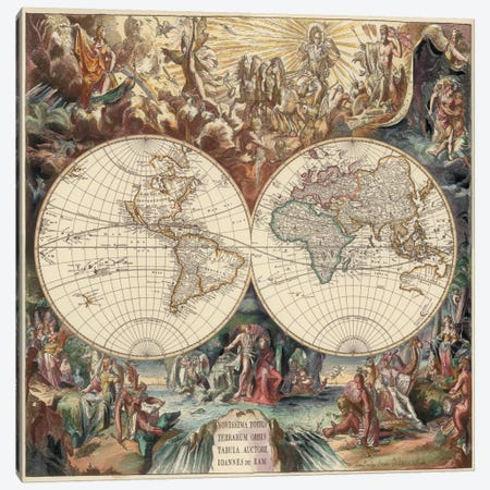 Antique World Map I Canvas Print #9213} by Interlitho Designs Canvas Art