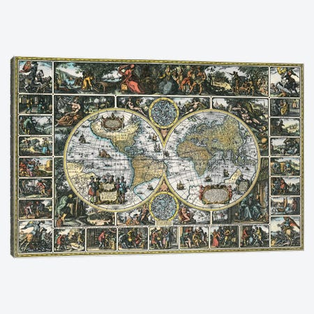 Antique World Map II Canvas Print #9214} by Interlitho Designs Canvas Art Print