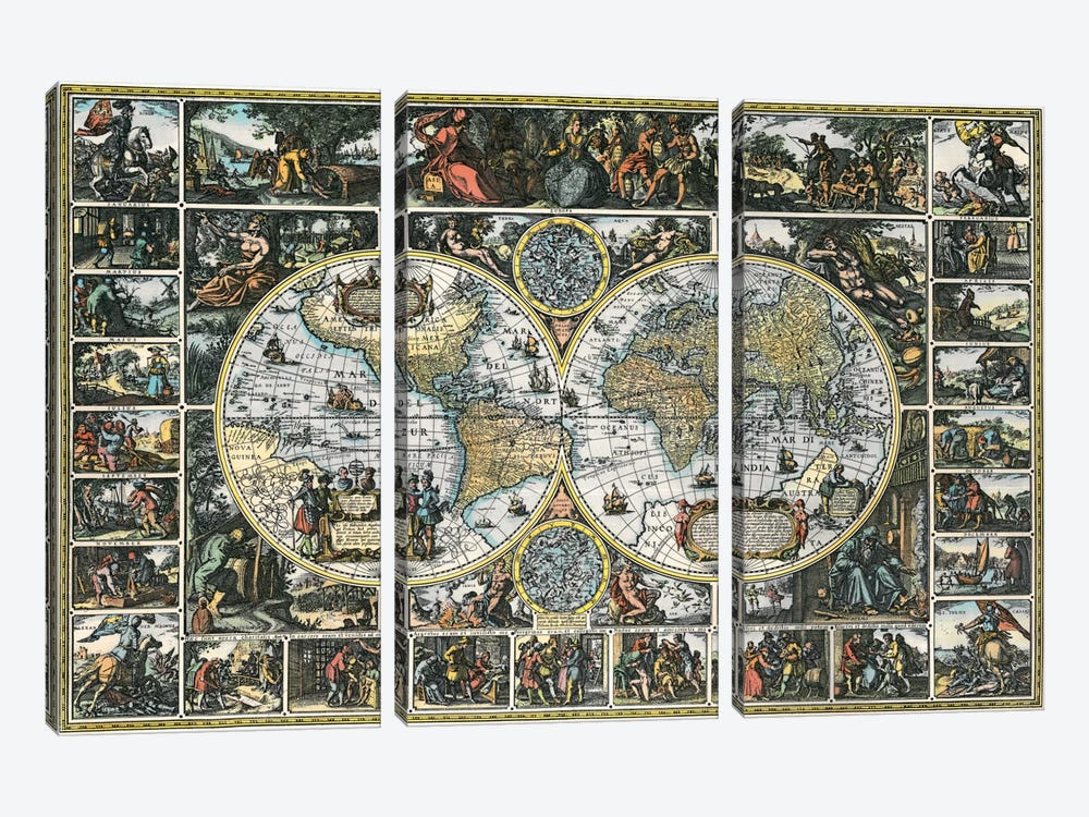 Antique World Map II by Interlitho Designs 3-piece Canvas Print